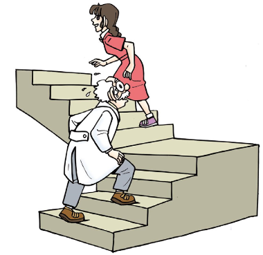 爷爷与小丽进行爬楼比赛,他们都从1楼上到6楼.爷爷的2