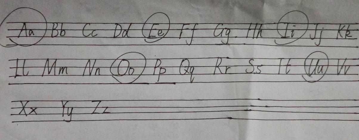 一,按順序默寫26個大小寫字母并且圈出5個元音字母(注意書寫格式).圖片