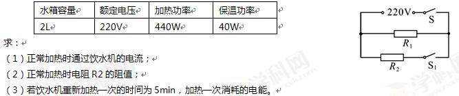 饮水机的铭牌数据与电路原理图如下