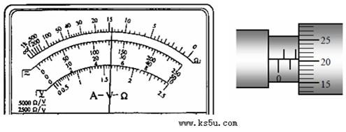 多用电表表盘和用测量