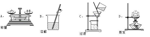 A、托盘天平的使用要遵循左物右码的原则,故A正确; B、溶解操作中,为加快食盐的溶解速率,可使用玻璃棒进行搅拌,故B正确; C、过滤液体时,要注意一贴、二低、三靠的原则,故C正确; D、蒸发时,应用玻璃棒不断搅拌,以防液体受热不均匀,造成液体飞溅;图中没有用玻璃棒搅拌,故D错误. 故选:D.
