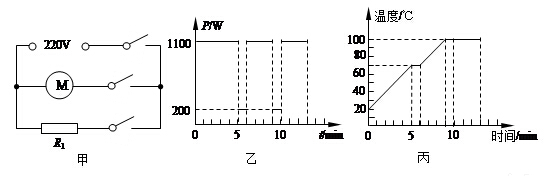 > 初中-物理 北师大版 二,电功率  图甲是小梦家豆浆机的工作原理图