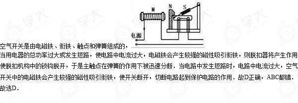 空气开关在家庭电路中的主要作用是(